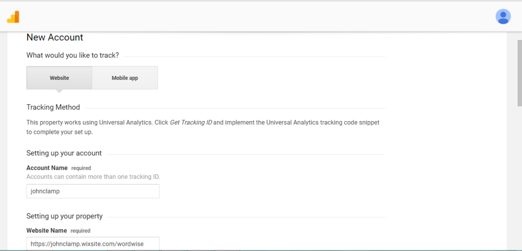 Google Analytics new account page